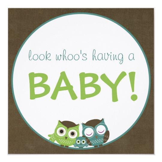 Owl Baby Shower | Green/Blue/Brown Boy Card