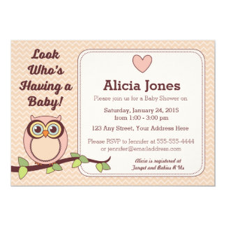 Owl Baby Shower Invitation (Girl)