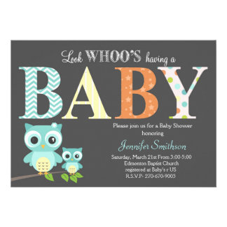 Owl Baby Shower - Look Whoo's Having a Baby 13 Cm X 18 Cm Invitation Card