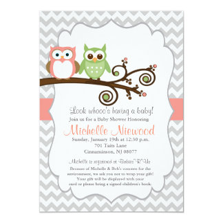 Owl Baby Shower Pink Invitation