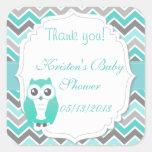 Owl Baby Shower Sticker Green Chevron