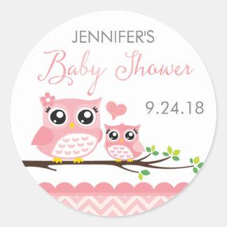 Owl Baby Shower Sticker Label   Pink Chevron Girl Round Sticker