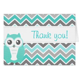 Owl Baby Shower Thank You Note Green Chevron Greeting Card