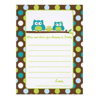 "Owl Baby Shower ""Words of advice"" Custom Invitation"