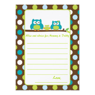 """Owl Baby Shower """"Words of advice"""" 6.5x8.75 Paper Invitation Card"""