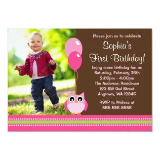 Owl Balloons Brown Pink Photo Birthday Card
