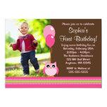 Owl Balloons Brown Pink Photo Birthday Custom Invites