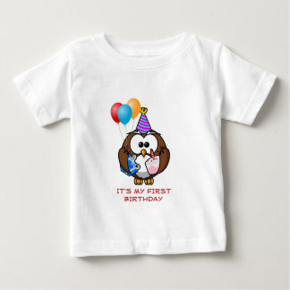 Owl Balloons Cake and Hat Custom Year Birthday Baby T-Shirt