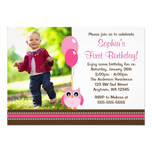 Owl Balloons Pink Brown Photo Birthday Invitations