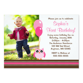 "Owl Balloons Pink Brown Photo Birthday 5"" X 7"" Invitation Card"