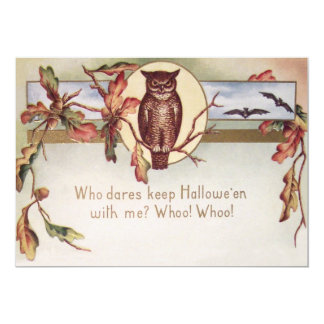 Owl Bat Autumn Fall Color Leaves Leaf 13 Cm X 18 Cm Invitation Card
