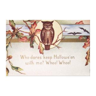 Owl Bat Autumn Fall Color Leaves Leaf Canvas Print