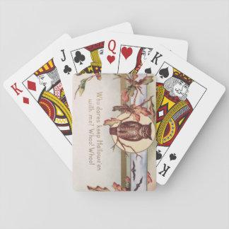 Owl Bat Autumn Fall Color Leaves Leaf Poker Deck