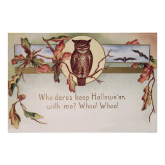 Owl Bat Autumn Fall Color Leaves Leaf Poster