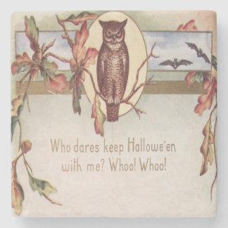 Owl Bat Autumn Fall Color Leaves Leaf Stone Coaster