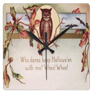 Owl Bat Autumn Fall Color Leaves Leaf Wallclocks