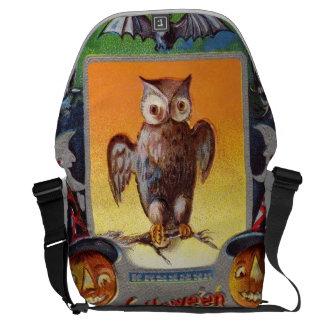 Owl Bat Crescent Moon Jack O' Lantern Messenger Bag