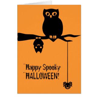 Owl-Bat-Spider Spooky Halloween Card