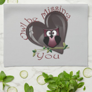 Owl be Missing You, Cute Owl and Heart American Mo Towel