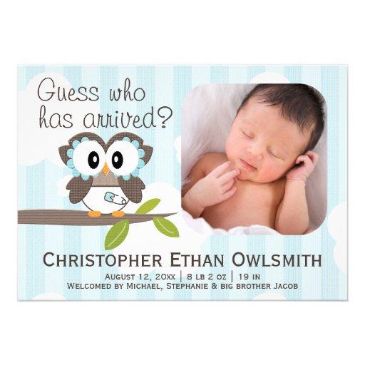Owl Birth Announcement Boy