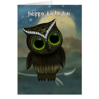 Owl Birthday Greeting Card, Fantasy Night Owl Greeting Card