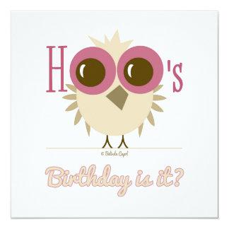 "Owl Birthday Invitation Card Pink Girl 5.25"" Square Invitation Card"