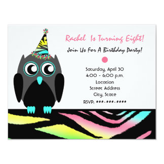Owl Birthday Party Invite Neon Zebra Print