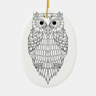 Owl Black & White Ceramic Oval Decoration