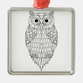 Owl Black & White Silver-Colored Square Decoration