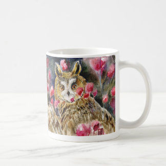Owl blossom watercolor painting mugs