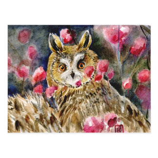 Owl blossom watercolor painting postcard