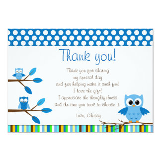 Owl Blue Brown Thank You Card Note 13 Cm X 18 Cm Invitation Card