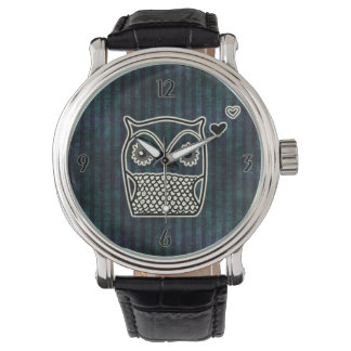 Owl Blue Grunge Leather Straps Watch