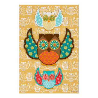 Owl Boheme Poster - Choose Any Background Color