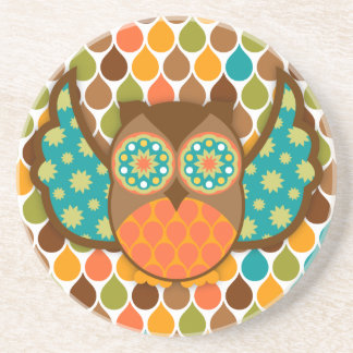Owl Boheme Teal & Brown Drink Coasters