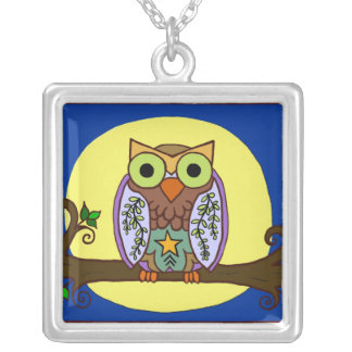 Owl Branch Moon Silver Plated Necklace