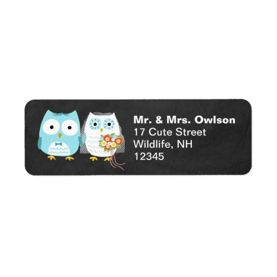Owl Bride and Groom Wedding Couple Return Address Label
