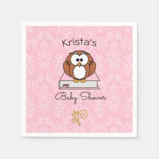 Owl Bring a Book Baby Shower Disposable Napkin