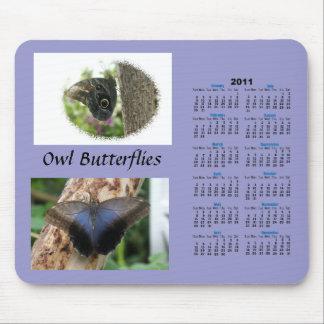 Owl Butterflies Calendar Mouse Pad