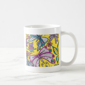Owl, butterfly and floral on yellow background mug