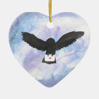 Owl Carrying Mail Ceramic Heart Decoration