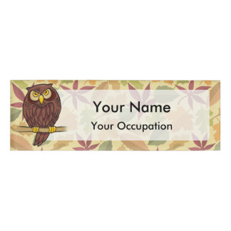 Owl Cartoon on light background Name Tag