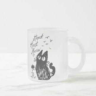 Owl Cat (Black) 10 Oz Frosted Glass Coffee Mug