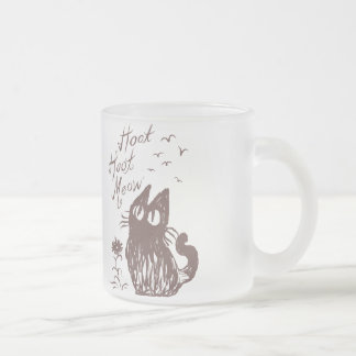 Owl Cat (Cocoa brown) Frosted Glass Mug