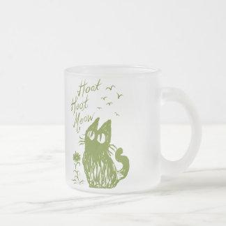 Owl Cat (Grass green) Frosted Glass Mug