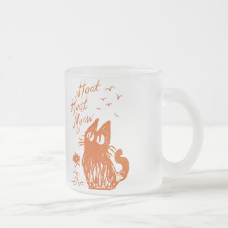 Owl Cat *Orange Frosted Glass Coffee Mug