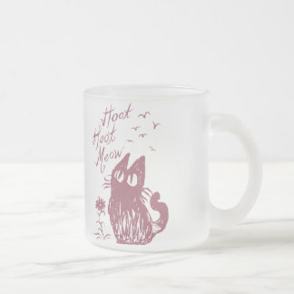 Owl Cat (Purplish red) Frosted Glass Coffee Mug