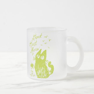 Owl Cat *Yellow-Green Frosted Glass Mug