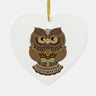 owl ceramic heart decoration