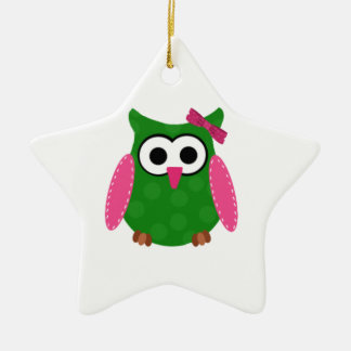 Owl Ceramic Star Decoration